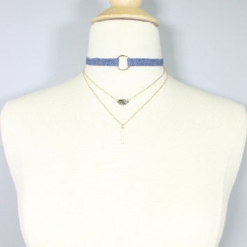 "12"" denim blue jean multi layered collar choker necklace .15""earrings .25"" wide"