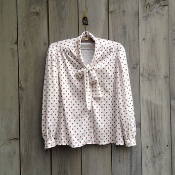 Vintage shirt | Copper polka dot secretary blouse