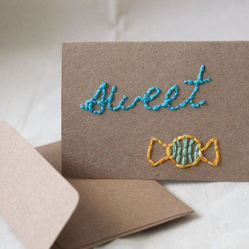 "Blue Green Turquoise Mint Yellow Simple Mini Blank Notecard (Kraft 2 1/2 x 3 1/2) ""sweet"""