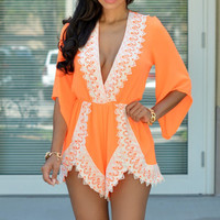Orange Half Sleeve V-Neck with Lace Accent Romper
