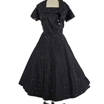 50s Black Cutout Floral Taffeta Party Dress-XL