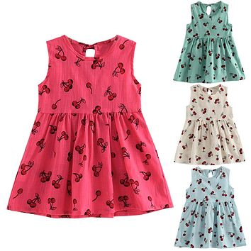 Flower Girl Dress 2017 Summer Cherry Fruit Printed Cotton Soft Sleeveless Princess Wedding Party Dress for 2-9Y