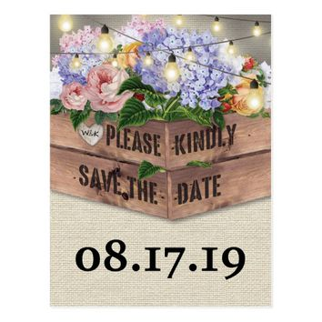Rustic Burlap Floral Wooden Crate Save the Date Postcard