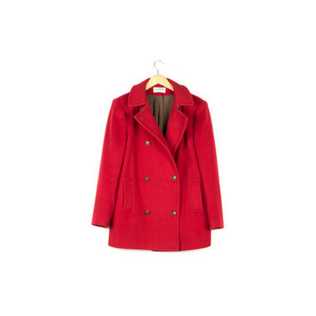 Red Wool Peacoat / 100% wool / vintage / double breasted / womens winter jacket / heritage /  pure thick heavy wool / size large