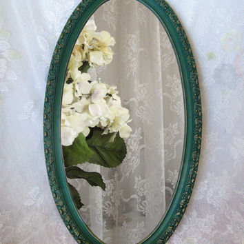 Large Oval Wall Mirror - Sea Green Mirror - Teal Mirror - Victorian Mirror - Large Vintage Mirror - Large Ornate Mirror - Painted Mirror
