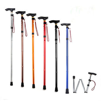 4sections Aluminum Alloy Adjustable Canes Folding Trekking Poles Hiking Pole Walking Stick High Qual