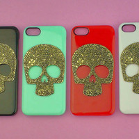 Floral Skull--  iphone 4 case studded,iphone 5 case studded,stud iphone 4 / 4S / 5  case in black or white or green or red