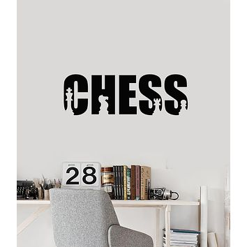 Vinyl Wall Decal Chess Club Room Art Word Board Game Pieces Stickers Mural (ig5965)