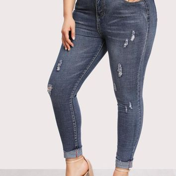 Dual Pocket Back Ripped Jeans BLUE