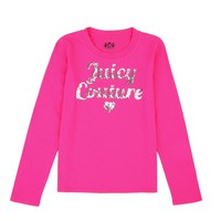 Sweet Raspberry Girls Logo Juicy Sequins Long Sleeve Tee by Juicy Couture,