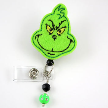 The Grinch - Retractable ID Badge Holder-Name Badge Holder-Nurses Badge-Badge Clip-Badge Reels-Pediatric-RN-Nursing Badge Holder