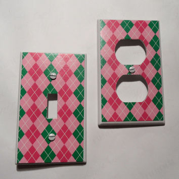 Pink and Green Preppy Plaid or Argyle Light Switch by myevilfriend