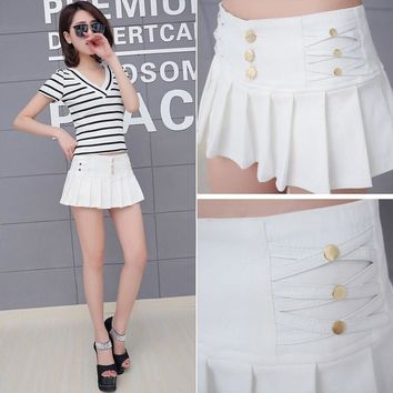 Black White Pencil Pleated Micro Mini Skirt Women summer Fashion Stretch Night Club Sexy Womens Short Skirts Faldas Mujer