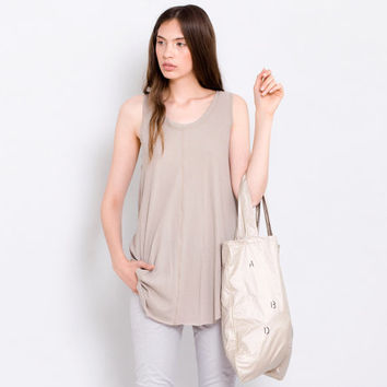 Women's beige loose tunic basic tank  top