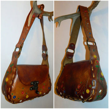 vintage 1970s purse tooled leather HIPPIE bag floral