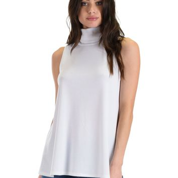 Lyss Loo Topanga White Sleeveless Turtleneck Top