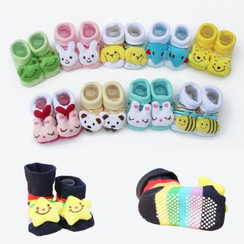 1 Pair Baby Cotton Socks For Newborns Gift Animal Lot Anti Slip With Rubber Soles For Child Boy Girl Newborn Baby Socks #YL