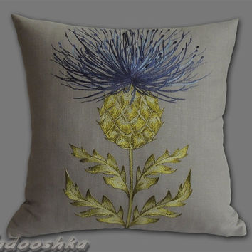 "16.5""Munro Juniper,  thistle cushion cover, soft blue. Hand made - A touch of Scotland. Fabric from Voyage Decoration"