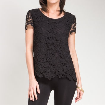 Crochet Lace Overlay Top in Black