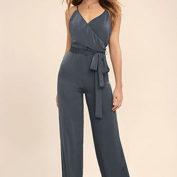 Got You On My Mind Navy Blue Jumpsuit