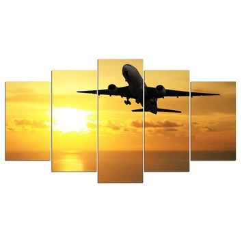 Jet Airplane at Sunset Wall Picture for Living Room Home Wall Decor