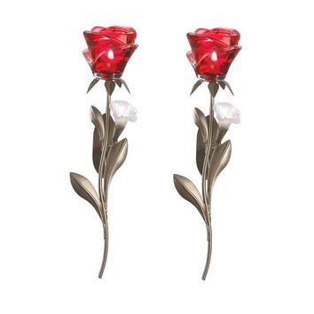 Set of 2 Single Red Rose Wall Sconces