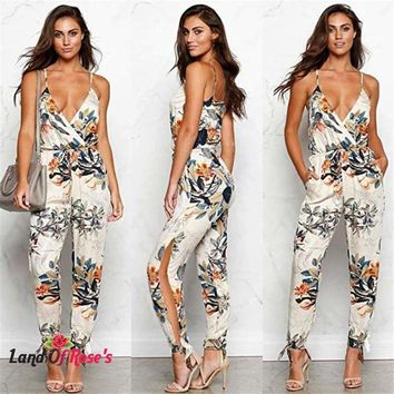V Neck Floral Spaghetti Strap Lace Up High Waist  Backless  Long Romper