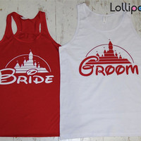 Bride and Groom Tank. Future Mrs. wedding Gift . HIs and Hers. Bachelorette party.Disney. Honeymoon tanks.For him and her.Fairy tail wedding