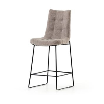 CAMILA BAR + COUNTER STOOL, SAVILE FLANNEL,  MIDNIGHT IRON