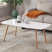 Yaheetech Modern Pine Coffee Table White Gloss Table Top Natural Wood Legs Living Room Furniture - Walmart.com