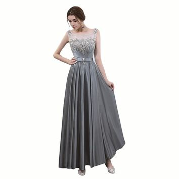 New The Banquet Elegant Evening Dress Grey Sequins and Crystal Floor-length Prom Party Formal Gown
