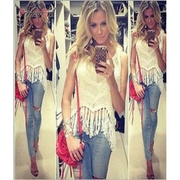 SIMPLE - Cotton Handmade Tassel Sexy Strap Top Women Tank Vest b5199