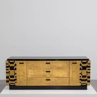 Black Lacquer and Gold Leafed Cabinet by Lane, 1950s