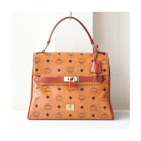 MCM Bag Visetos Cognac Germany Brown Vintage Authentic Tote Kelly Handbag Purse