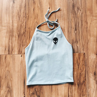 Alien Halter Top (Light Blue) | ootdfash