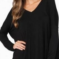 Black Comfy V Neck Long Sleeve Slouchy Knit Tee Shirt Top