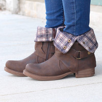 Corky's: Roughout Plaid Lined Boots {Distressed Brown}