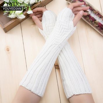 Fall Winter Women Knitting Wool Arm Warmer Women Long Gloves Winter Fingerless Knit Mittens For Women Girls Gloves Female #1031
