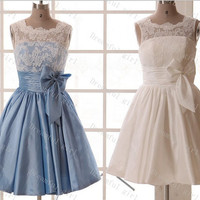 Lace and taffeta with sash bow homecoming dress ,prom dress ,evening dress