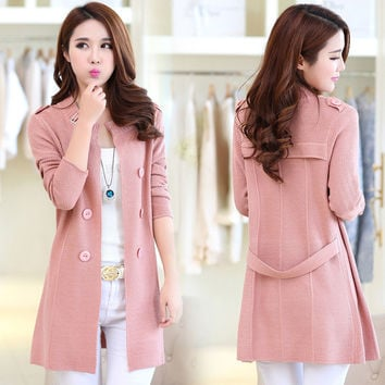 new 2016 autumn sweater plus size in the long section of Korean style loose cardigan sweater coat knitted wool vetement femme