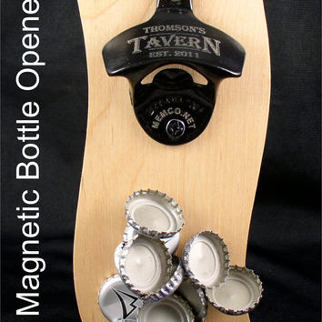 Magnetic Bottle Opener Barware Set - Stainless Steel or Black - Personalized if you like!