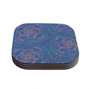 "Miranda Mol ""Kaleidoscopic Blue"" Blue Geometric Coasters (Set of 4)"