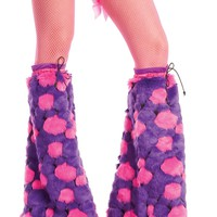 Raveware Pink and Purple Bubbles Furry Boot Covers : UV Reactive Fluffies