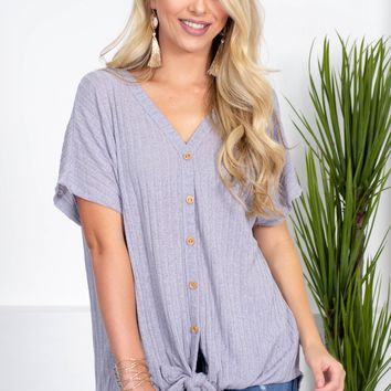Bev Ribbed Knot Top | Grey