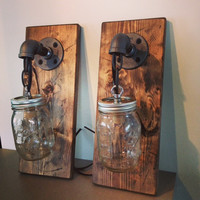 Industrial Rustic Wood Mason Jar 1 Light Fixture