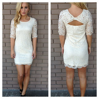 Cream Scallop Lace Mini Dress