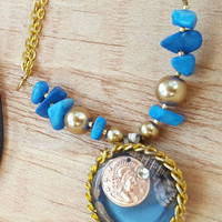 Gold and Blue Necklace - Rose Gold Coin Pendant - Gold Chain Necklace - Blue Howlite -- Good Fortune Jewelry - Lucky Coin Necklace -