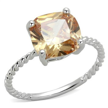 SALE  A Perfect 2.5CT Cushion Cut Russian Lab Champagne Diamond Ring