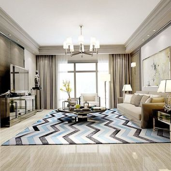 Poshrug White Blue Black Chevron Rug