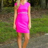 Where You Want To Be Dress-Hot Pink